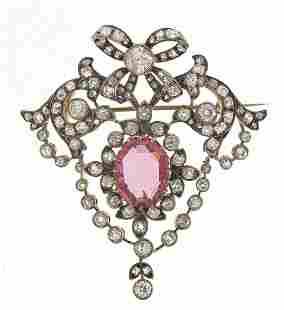 Impressive 19th century diamond and pink...
