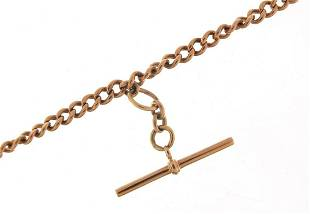 9ct rose gold watch chain with T bar, 45...
