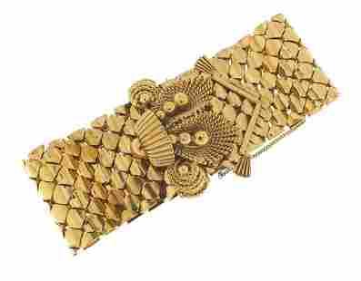 Large 9ct gold belt and buckle design br...