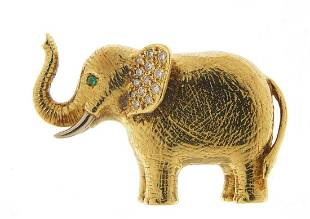 Heavy 18ct gold and diamond elephant bro...