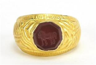 Antique unmarked gold intaglio seal ring...