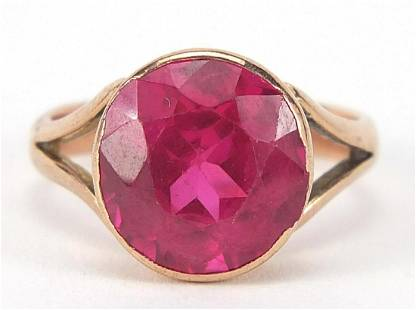 9ct rose gold ruby solitaire ring, the s...