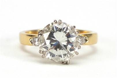 18ct gold diamond solitaire ring, round ...