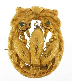 Large unmarked gold naturalistic brooch ...