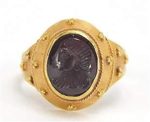 Antique unmarked gold intaglio silver ri...