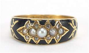 Antique 18ct gold, pearl, diamond and bl...