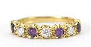 18ct gold diamond and amethyst half eter...