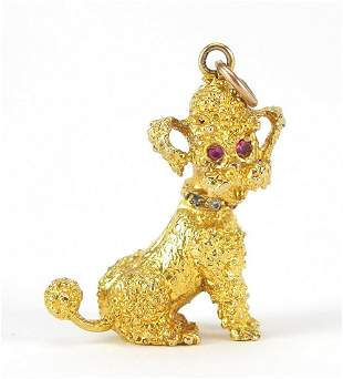9ct gold seated poodle charm with ruby e...