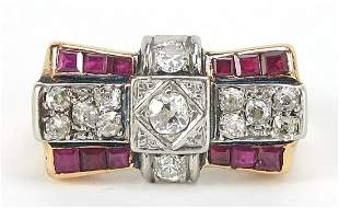 Art Deco unmarked gold diamond and ruby ...
