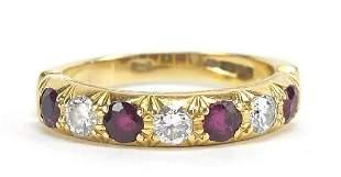 18ct gold diamond and ruby half eternity...