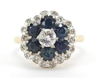 18ct gold sapphire and diamond flower he...