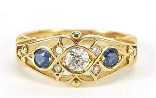Edwardian 18ct gold diamond and sapphire...