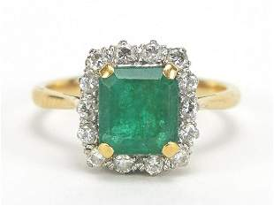 18ct gold emerald and diamond ring, the ...