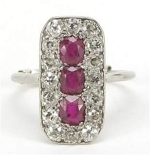 Art Deco platinum ruby and diamond ring,...