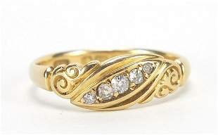 18ct gold diamond five stone ring with s...
