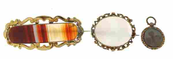 Two antique Scottish agate brooches with...