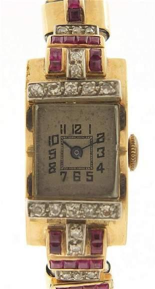 Art Deco ladies unmarked gold, diamond a...