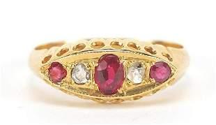 Victorian 18ct gold garnet and diamond f...