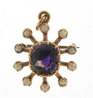 Unmarked gold amethyst and seed pearl pe...
