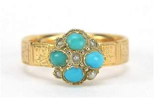 Victorian 18ct gold turquoise and seed p...