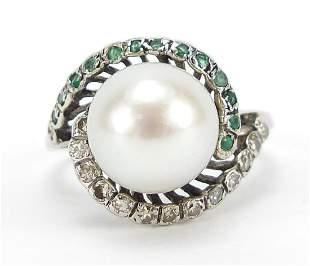 9ct white gold cultured pearl and diamon...