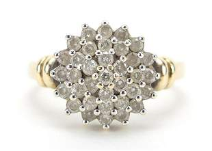 9ct gold diamond four tier cluster ring,...