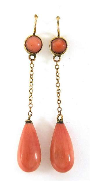 Pair of antique unmarked gold pink coral...