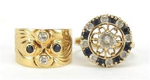Two sapphire and clear stone rings inclu...