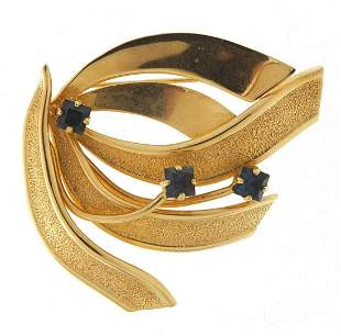Unmarked gold blue stone floral spray br...