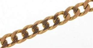 9ct gold curb link bracelet, 20cm in len...