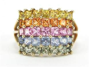 9ct gold multi gem five row cluster ring...