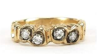 14ct gold diamond half eternity ring, th...