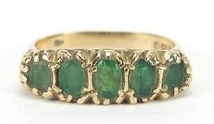 9ct gold graduated emerald five stone ri...