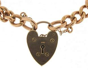 9ct rose gold charm bracelet with love h...
