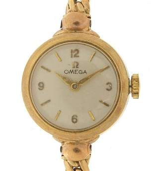 Omega, ladies 9ct gold manual wind wrist...