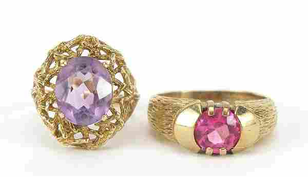Two 9ct gold rings set with purple and p...