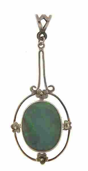 Art Nouveau unmarked silver and opal pen...