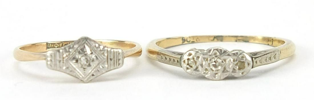 Two 9ct gold diamond rings, sizes Q and ...