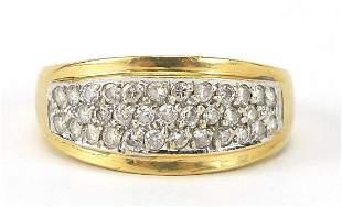 18ct gold diamond three row cluster ring...