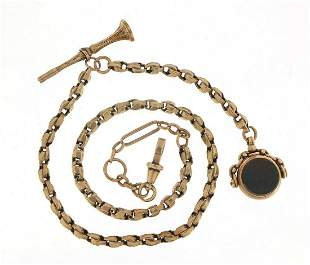 Victorian 9ct rose gold watch chain with...