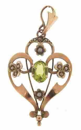 Art Nouveau 9ct gold peridot and seed pe...