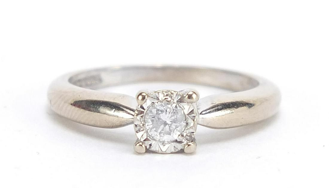 18ct white gold diamond solitaire ring, ...