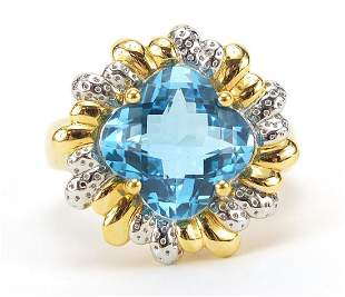 14ct gold blue topaz and diamond ring, s...