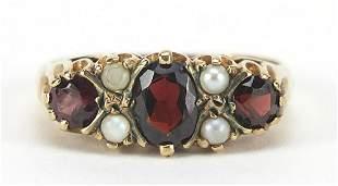 Victorian design 9ct gold garnet and pea...