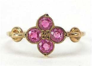 Antique unmarked gold ruby flower head r...