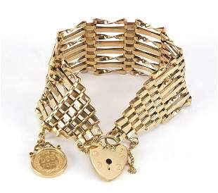 9ct gold eight row gate bracelet with lo...