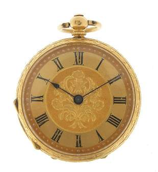 18ct gold ladies pocket watch with ornat...