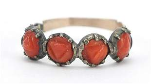 Antique unmarked gold coral four stone r...