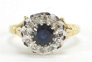 18ct gold sapphire and diamond ring, the...