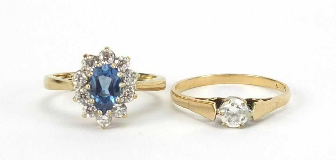 Two 9ct gold rings set with blue and cle...